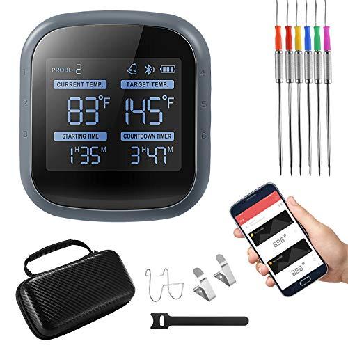 Termómetro Bluetooth para Barbacoa,TTLIFE Termómetro Cocina,con 6 Sondas,Temporizador de Cuenta Atrás,para Barbacoa de Humo,Horno y Parrilla Interior y Exterior