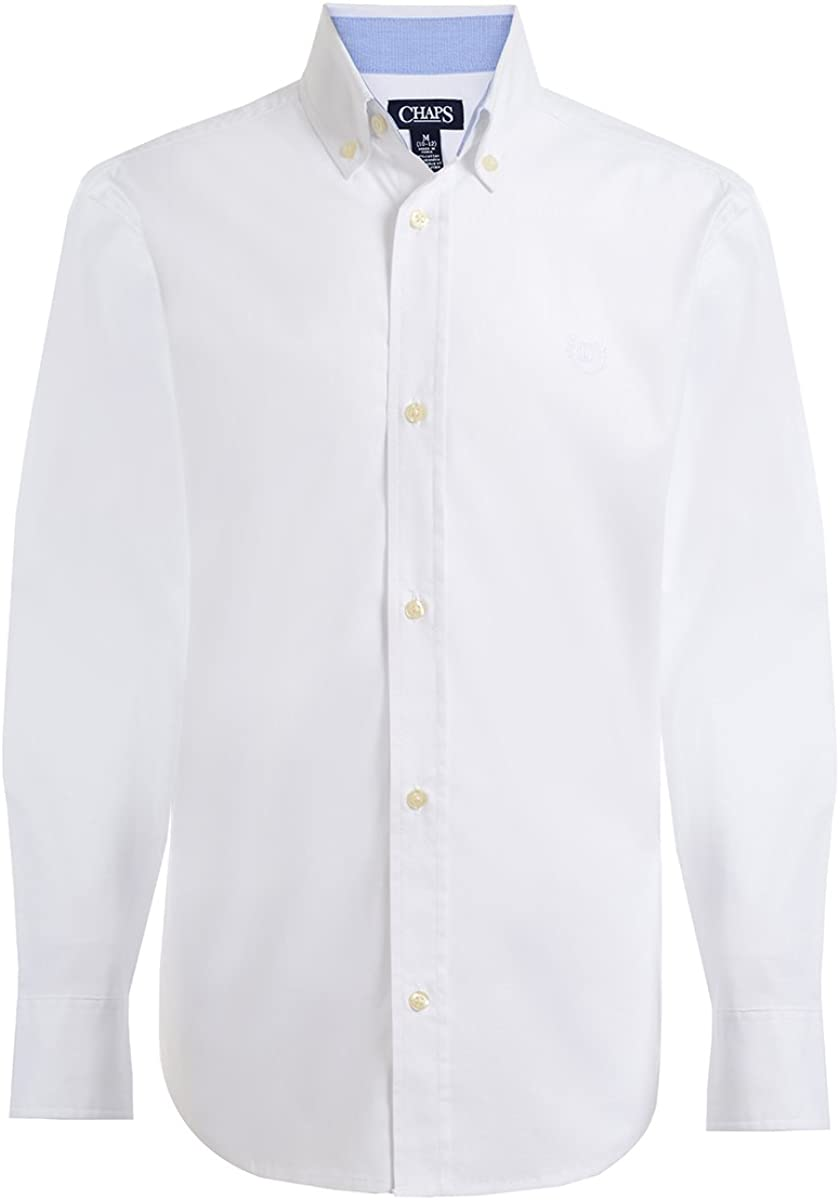 Chaps Boys' Long Sleeve Solid Button-Down Woven Shirt