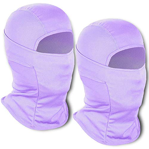 2 Pieces Balaclava Face Mask Neck Gaiter UPF 50+ Protect Windproof Dustproof Breath Cooling Outdoor Sports Purple
