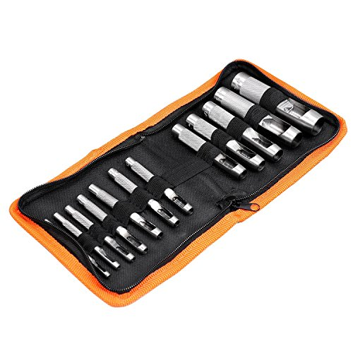 12-Piece Hollow Leather Punch Set for Punch Precise Holes in Leather or Plastic