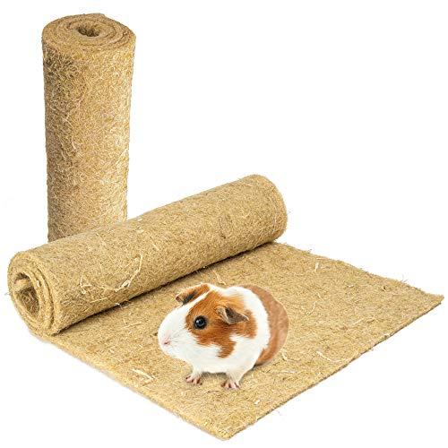 Nagerteppich aus 100% Hanf, 120 x 50cm, 5mm dick, 2er Pack, Hanfteppich für alle Arten Kleintiere, Hanfmatte Nagermatte Nager-Teppich