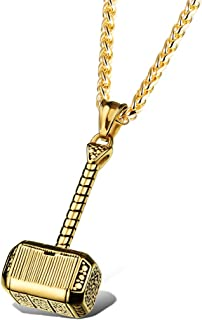 Viking Mens Stainless Steel Vintage Thors Hammer Celtic Pagan Tribal Amulet Pendant Handmade Necklace