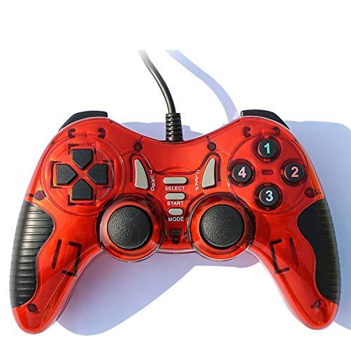 Mango De Juego De Computadora, PCL-3000 con Cable Vibración NBA2K Naruto Joystick Mango USB 8200, Diseño Ergonómico,Rojo
