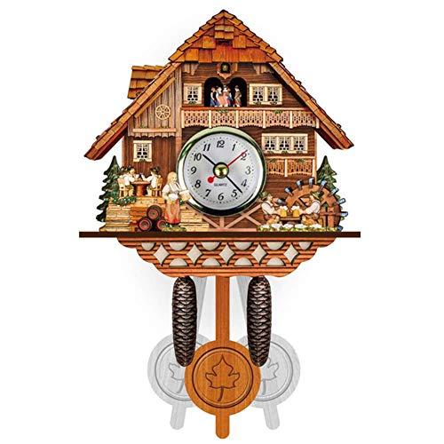 weiwei Kuckucksuhr Traditionelle Schwarzwälder Hausuhr Antik Holz Retro Pendeluhr Wanddekoration,Authentische Schwarzwälder Kuckucksuhr(1St.),B.