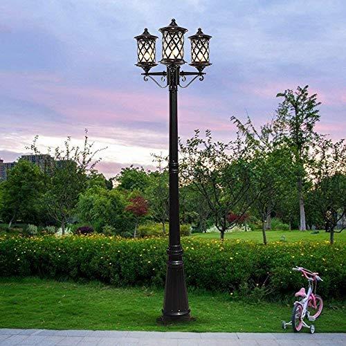 Luz de poste de calle de paisaje de poste alto retro de 3 luces Linterna de vidrio de metal de aluminio antiguo americano europeo Lámpara de columna de pilar impermeable al aire libre Luz de piso
