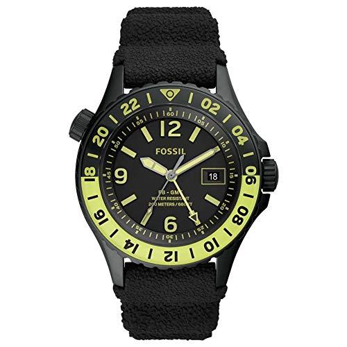 Fossil Limited Edition FB-GMT Dual-Time Uhr mit schwarzem Silikonarmband für Herren LE1107
