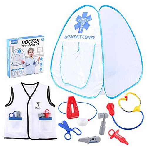 ZQYX Kit de Doctor para Nios, Nios Simulan Jugar Doctor con Disfraz de Nios, Estetoscopio, Termmetro, Jeringa, Juego de Roles del Doctor Juguete Educativo