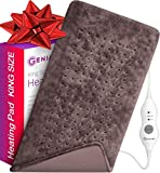 XL Heating Pad - Premium Electric Heating Pad for Moist and Dry Heat Therapy - Fast Neck/Shoulder/Back Pain Relief at Home - 12' x 24', GENIANI (Brown)