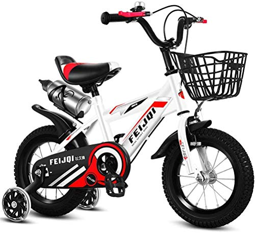 HCMNME Durable Bicycle 2020 New Mountain Bike for Kids, Boys Girls Sporty Bicycle with Training Wheels and Basket, High-Carbon Steel 12 14 16 18 Inch Child Bike for 2-12 Years Old,White,16inch A