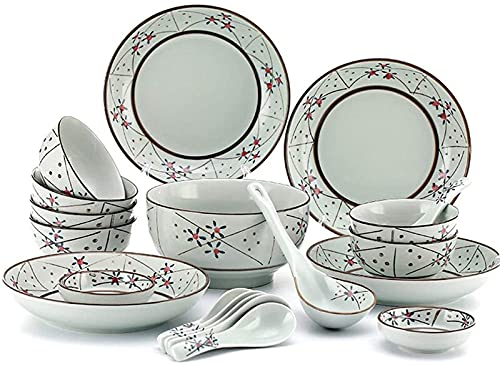 Juego de platos de cena, juego de vajilla de 20 piezas, servicio para 6, vajilla de porcelana azul y blanco, para fiestas familiares, platos diarios y envío de regalos, cerámica