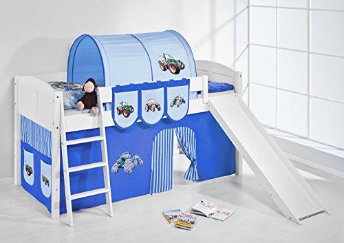 Lilokids Spielbett IDA 4106 Trecker Blau-Teilbares Systemhochbett weiß-mit Rutsche und Vorhang Kinderbett, Holz, 208 x 220 x 113 cm