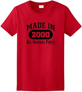 Made in 2000 All Original Parts 18th Birthday Gifts Ladies T-Shirt Tee
