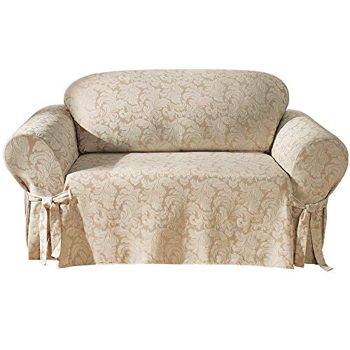 SureFit Home Décor SF24987 Scroll Sofa Cover, Relaxed Fit, Cotton/Polyester, Machine Washable One Piece Champagne Color