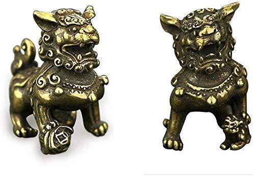 DCLINA Feng Shui Beijing Fu Foo Perros latón Mejores estatuas Estatua león Regalo para decoración del hogar y la Oficina artesanía un par