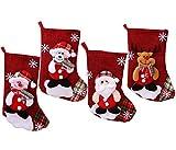XCSW Medias de Navidad 4 Piezas Calcetín de Navidad Bolsa de Regalo para el árbol de Navidad Chimenea Decoración Colgante Santa/Reno/Oso/Muñeco de Nieve para Decoraciones de Navidad