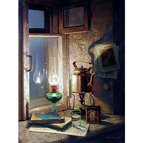 yaonuli Digitale schilderij DIY olie lamp tekening door het raam canvas bruiloft decoratie geschenk 40x50cmFrameless