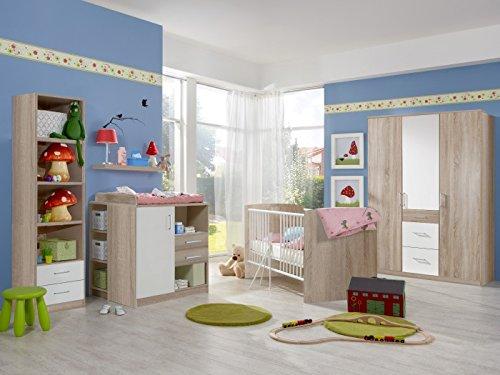 möbel-direkt Babyzimmer Nicki komplett Sets Verschiedene Ausführungen (Babyzimmer Nicki 7tlg. 3türiger Schrank, Eiche Sägerau/Weiß)