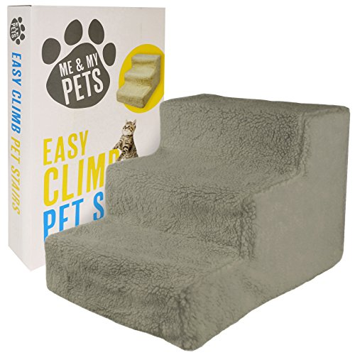 Me and My Easy Climb Fleece Covered Pet Stairs - Grey