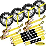 """Trekassy 2""""x 144"""" Wheel Net Car Tie Down Straps Heavy Duty with Snap Hooks, 3333lbs Safe Working Load, 4 Pack Ratchet for Trailers with 8 Tire Straps, 2 Axle Straps"""