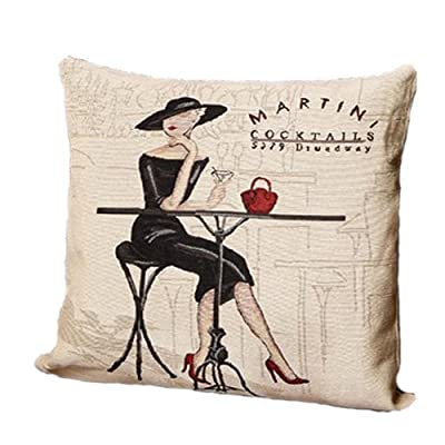 New Black Lady Martini Cocktail Pop Art Decorative Pillow Case Fashion Cushion Cover