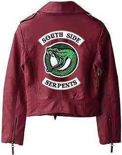 StMandy Riverdale Jacket Girls red Serpents Jacket Biker Gang Southside Black Leather Jacket-1