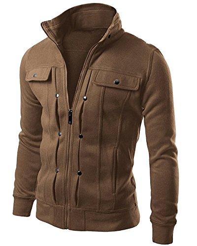 Minetom Uomo Giacca Cappotto Outerwear Tops Sportivo Moda Zip Hoodies Felpa Sweatshirt Con Tasca Pratico Primavera Autunno Caffè EU XXL