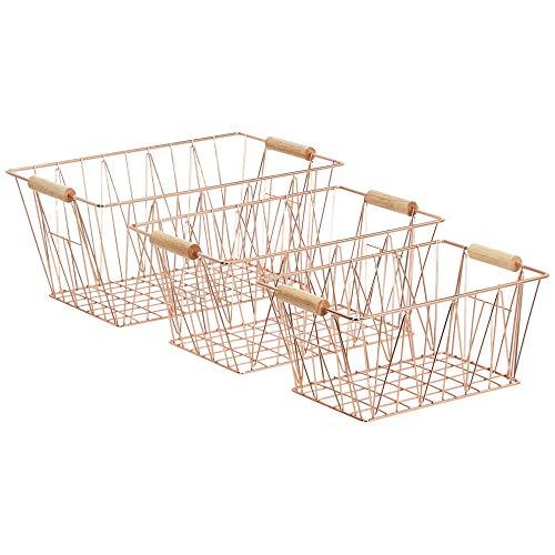 AmazonBasics - Juego de tres cestas grandes de alambre en cobre