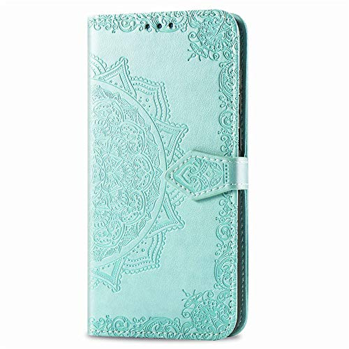 iPhone 11 Pro Max Wallet Case Green Mandala, iPhone 11 Pro Max Flip Case with Card Holder, Patterned Faux Leather Phone Cover with Magnet Kickstand & Wrist Strap for iPhone 11 Pro Max Case Women