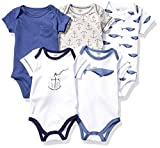 Touched by Nature Unisex Baby Organic Cotton Bodysuits, Blue Whale, 3-6 Months