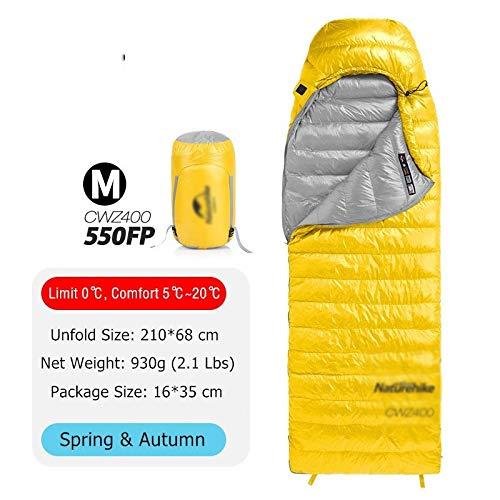 Générique Sac de Couchage Ultra léger 4 Saisons carré en Duvet d'oie imperméable par Temps Froid Camping Nemo Sac de Couchage (Couleur : 550 FP Jaune M)