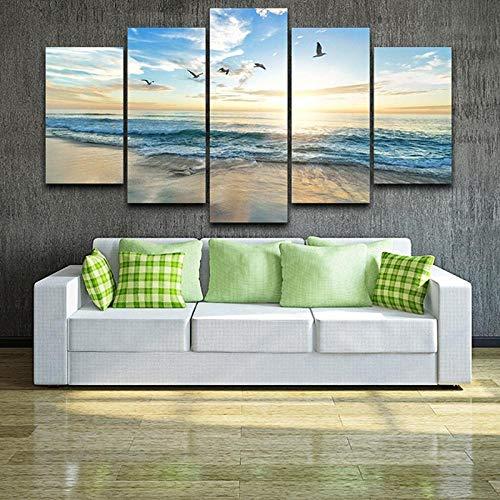 XXXCH Quadro su Tela - Cinque 5 Tele Uccelli del Gabbiano del Paesaggio della Spiaggia Dell'Onda del Mare Immagine di Arte della Parete Quadri Moderni Arredo per Soggiorno Salotto Camera da 200X100CM
