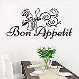 Pegatinas de pared 59X28 cm Chef con comida Etiqueta de la pared Dibujos animados Vinilo extraíble Calcomanías de pared decorativas para comedor