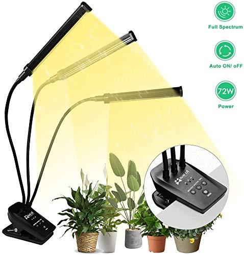 NaCot 【Upgrade】 72W Led Pflanzenlampe, Pflanzenlicht 144 Led Vollspektrum Pflanzenleuchte 0-100% Dimmen, Wachsen licht mit Timer für Zimmerpflanzen