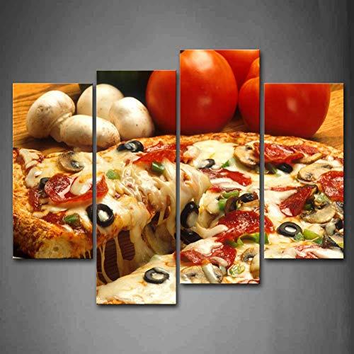 WLEZY canvas schilderij 4 stuks muurkunst schilderijen pizza ham paddenstoel tomaten canvasdruk moderne levensmiddelen poster voor woonkamer (frame)