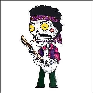 Jimi Hendrix Calavera Die Cut Clear Vinyl Sticker Sugar Skull - Day of the Dead - Weather Proof Decal
