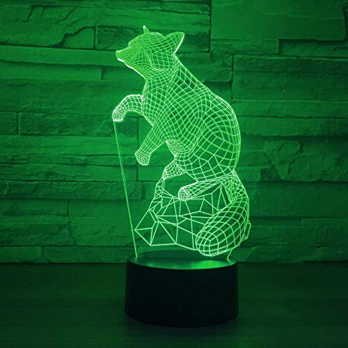 3D Illusion Lampnight Light for Kids 3D Illusion Red Panda Lamp 7 Colours Changing Led Night Lamp Room/Party Décor Holiday and Birthday Gifts for Children Girl and Adult