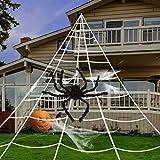 GIGALUMI Halloween-Dekoration, riesiges Spinnennetz mit 88,9 cm großer schwarzer, haariger Spinnweben, 10 kleine Kunstspinnen für Halloween-Dekorationen, Outdoor-Hof-Dekoration