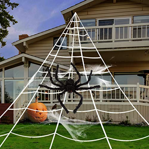 GIGALUMI Halloween Decoration 23FT Giant Spider Web with 35' Huge Black Hairy Spider,Super Stretch Cobwebs and 20PCS Small Fake Spiders for Halloween Decorations Outdoor Yard Decor, White