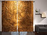 Ambesonne Egyptian Print Curtains, Egypt Hieroglyphics Old Logographic Details and Alphabetic Elements, Living Room Bedroom Window Drapes 2 Panel Set, 108' X 84', Coffee Brown
