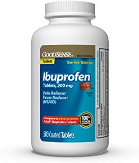 GoodSense Ibuprofen Tablets, 200 mg, Pain Reliever and Fever Reducer, 500 Count, Temporarily Relieves Minor Aches and Pains Due to: Headaches, Minor Pain of Arthritis, and the Common Cold