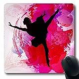 Luancrop Mousepads Wasser-Farbtanzen-Ballerina-Zusammenfassungs-Wellen-Mädchen-junger Ballett-Entwurfs-weiße rutschfeste Spiel-Mausunterlage Gummilangmatte