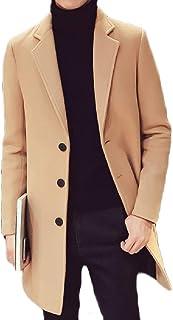 MogogoMen 3 Button Mid-Length Topcoat Slim Fit Autumn Winter Pea Coat