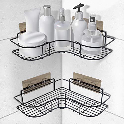 SYOSIN Duschregal Eckregal,Badezimmerregale,Duschkorb Duschablagen Ohne Bohren mit Selbstklebendem Aufkleber für Küchen und Badezimmerzubehör (2 Stück, Schwarz)