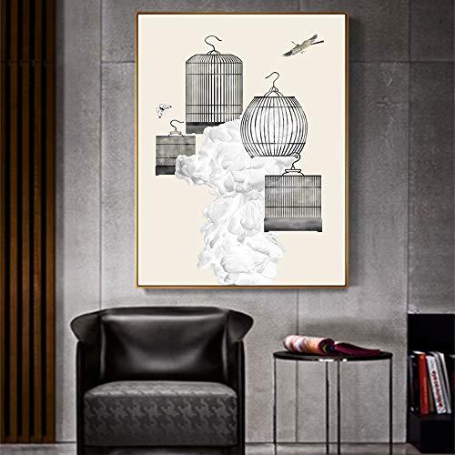 Minimalistischen vogelkäfig Poster und druckwand leinwand ölgemälde Wohnzimmer wanddekoration Kunst Bild rahmenlose malerei 40x50 cm