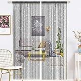1 tenda con nappe per porta con perline in vetro, 90 x 200 cm, in poliestere, con nappe nere
