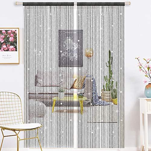 1 StÜck Quaste Tür Vorhang with Glitter Glas Perlen Vorhänge Schiebevorhänge 90x200cm Polyester Tür Schnur Fadenvorhang Schwarz Quasten Vorhang Für Dekoration Gardine Raumteiler