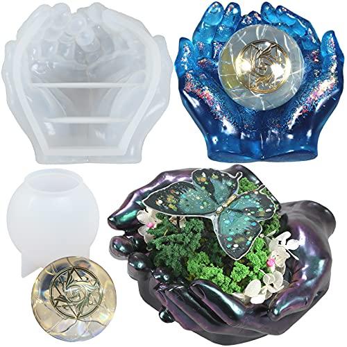 FUNSHOWCASE Grandes moldes de silicona de resina epoxi con forma de manos y esfera, para cenicero, maceta, portavelas y portavelas