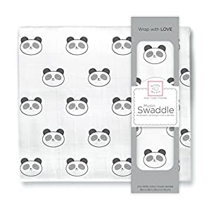 SwaddleDesigns Cotton Muslin Swaddle Blanket, Black Panda