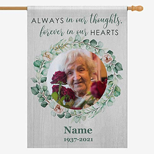 Custom Photo Decorative Garden Flag, Personalized Text Photo Flag Always in Our Thoughts Forever in Our Hearts Yard House Flag for Outdoor Porch Patio Farmhouse Lawn Decor 28x40 Double Side Memorial