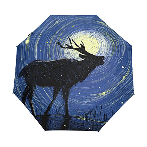 Mr.Lucien Cute Reindeer Moon Watercolor Painting Compact Umbrella, Lovely Animal Mysterious Fairy Tale Automatic Folding Travel Umbrella, Windproof Auto Open/Close for One Handed Operation 2020207